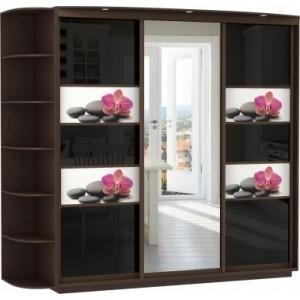 3-х дверный, корпус Венге, двери стекло, фотовставки, зеркало