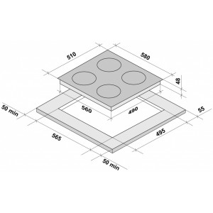 Встраиваемая электрическая панель Fornelli PV 60 INVERNO