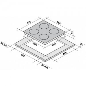 Встраиваемая электрическая панель Fornelli PV 60 Dolce