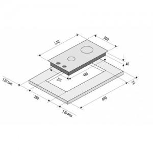 Встраиваемая газовая панель Fornelli PGA 30 Quadro IX