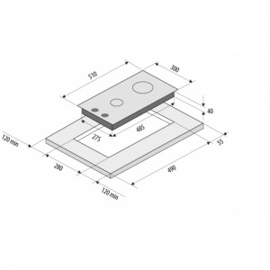 Встраиваемая газовая панель Fornelli PGA 30 QUADRO