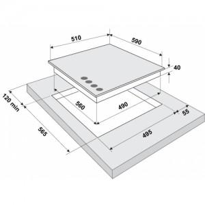 Встраиваемая газовая панель Fornelli PGA 60 Quadro IX